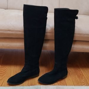 Charles David almond toe over the knee suede boots